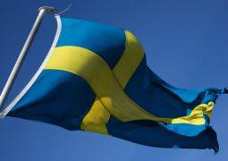 Swedish flag flying