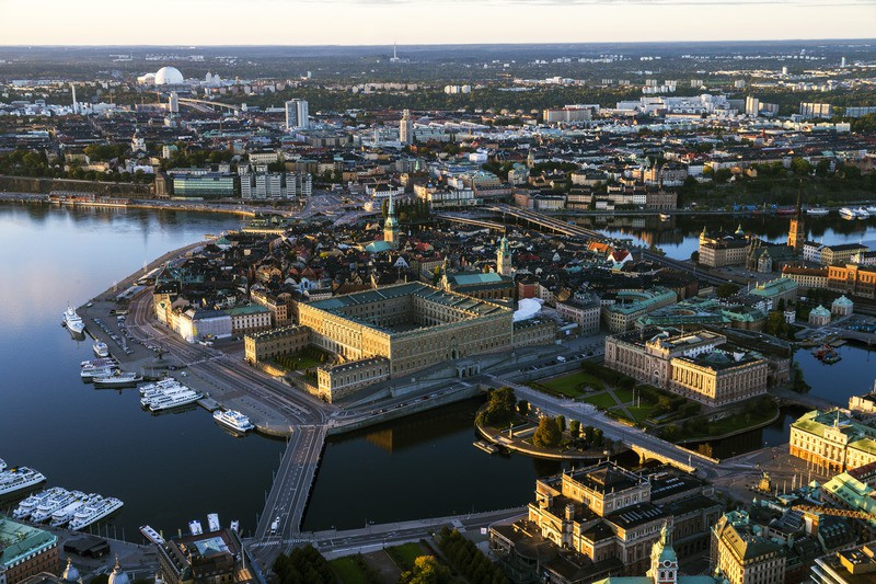 Aerial view of Stockholm with Royal Palace