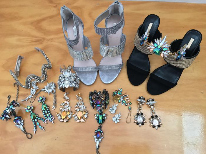 A selection of Dami's shoes, jewellery and accessories for Eurovision